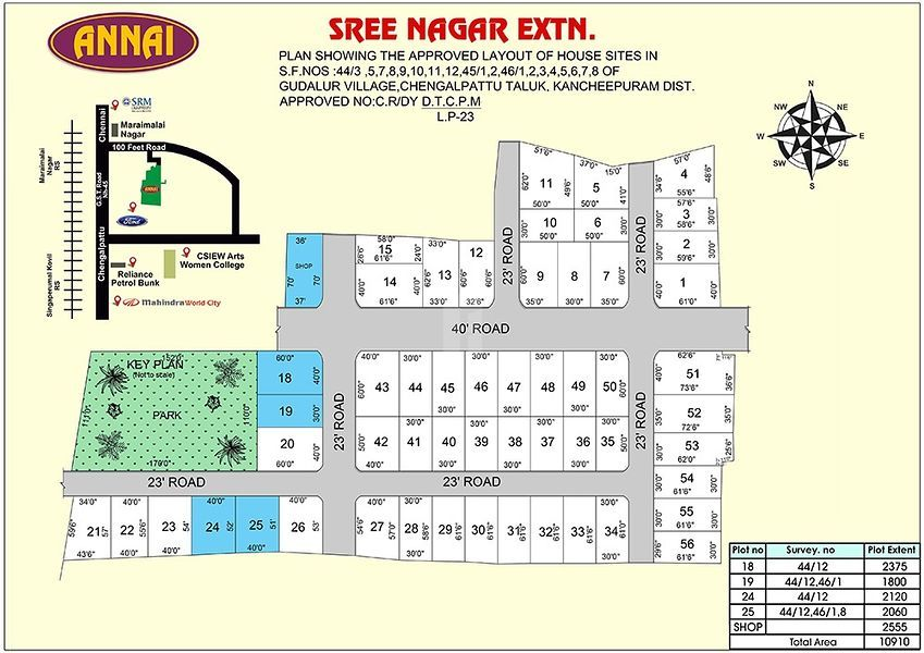 Annai Sree Nagar Extn - Master Plan