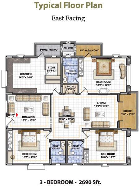 Nagarjuna residency in gachibowli hyderabad price for Apartment plans hyderabad