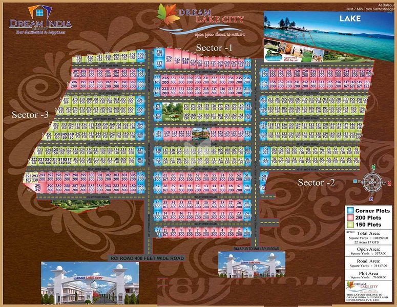 Dream India Dream Lake City Plots - Master Plan