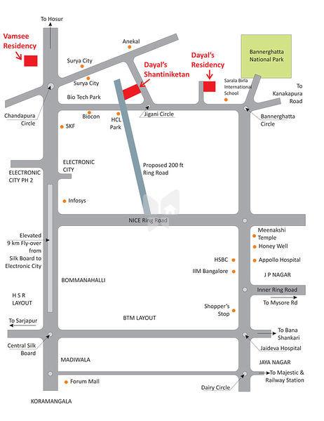 Anuradha Dayals Shanti Niketan - Location Map